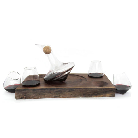 Just Right 730ml Wine Decanter & 4 Revolving 12oz Wine Glasses with Live Edge Walnut Serving Tray