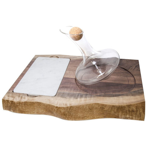 Just Right 750ml Wine Decanter with marble Charcuterie board set in a Walnut Tray