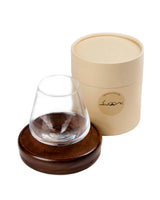 Swoon 12oz  Revolving Non-Spill Wine Glass with Wood Coaster.