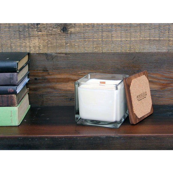 Mahogany Scented Soy Based Square Candle With Wood Lid
