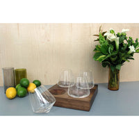 Set of Four Swoon Revolving 12oz Wine Glasses on Walnut Wood Stand