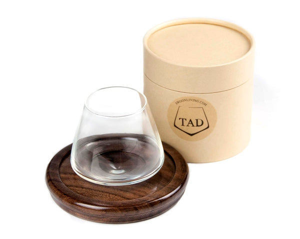 Tad 5oz  Revolving Non-Spill Whiskey Glass with Wood Coaster.