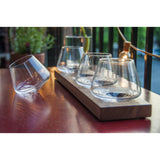 Flight of four 5 oz glasses for when you need just a tad bit on walnut wood stand