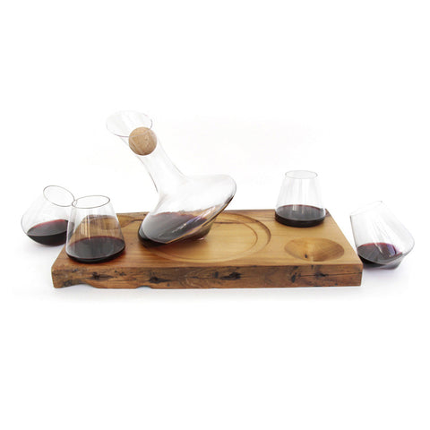 Just Right 750ml Wine Decanter and Four 12oz Glasses with Barn Wood Service Tray
