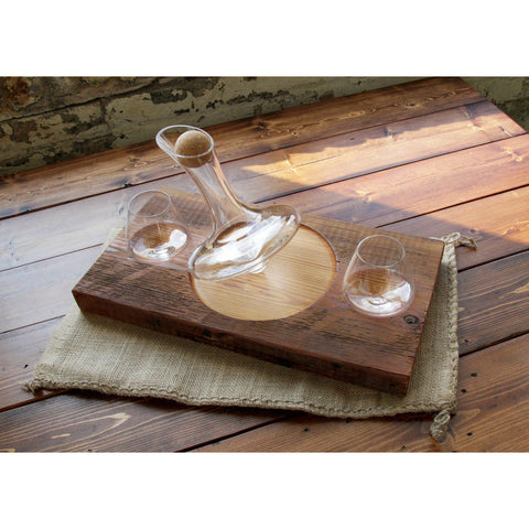 Set of two 5 oz Revolving Tad Glasses, a 375 mL Tad Decanter, and a re-purposed barn wood base