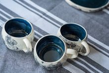 Load image into Gallery viewer, Porcelain cappuccino cup deep blue & bubbles - ZLATNAporcelain