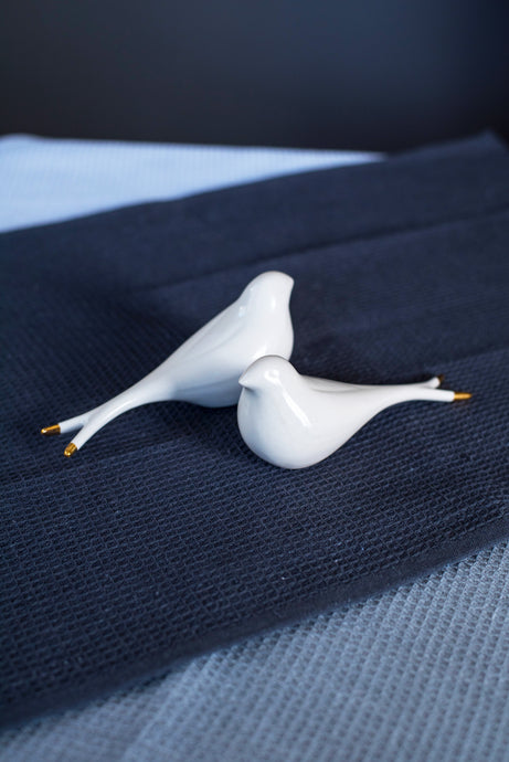 Porcelain swallow white & gold - ZLATNAporcelain