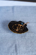 Load image into Gallery viewer, Porcelain seashell jewellery dish black & gold - ZLATNAporcelain