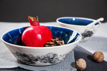 Lade das Bild in den Galerie-Viewer, Porcelain soup bowl deep blue & bubbles - ZLATNAporcelain