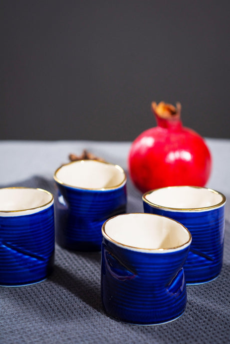 Porcelain crushed cup - cobalt blue & gold - ZLATNAporcelain