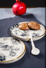 Load image into Gallery viewer, Porcelain white dessert plate gold & bubbles - LIMITED - ZLATNAporcelain