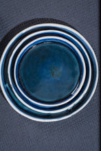 Load image into Gallery viewer, Porcelain dessert plate deep blue & bubbles - ZLATNAporcelain