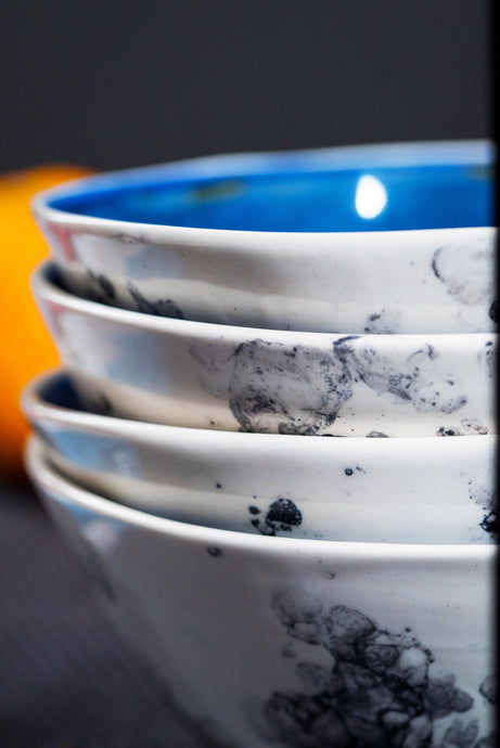 Porcelain soup bowl deep blue & bubbles - ZLATNAporcelain