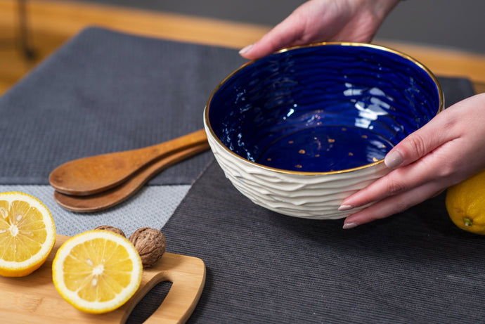 Porcelain big salad bowl - cobalt blue & gold - ZLATNAporcelain