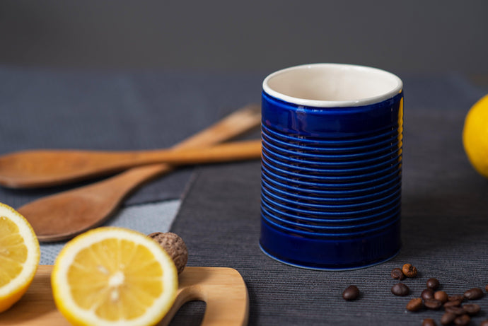 Porcelain big mug - Cobalt blue & white - ZLATNAporcelain