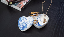 Load image into Gallery viewer, Porcelain heart shaped jewelry box with lid - White with blue bubbles - ZLATNAporcelain