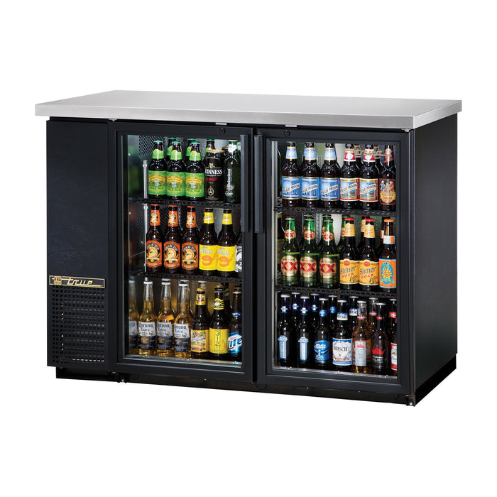 "True TBB-24-48G-HC-LD 49"" 2-Section Glass-Door Back Bar Cooler"
