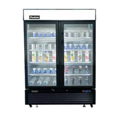 "Padela PDGB-44F-ES 55"" 2-Section Glass-Door Merchandiser Freezer"