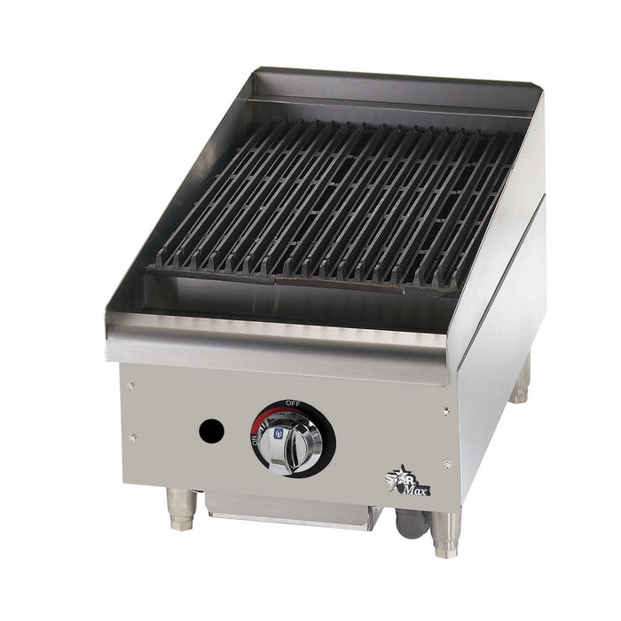 "Star 6015CBF Field Convertible 15"" 1-Burner Countertop Charbroiler Lava Rock - 40,000 BTU"