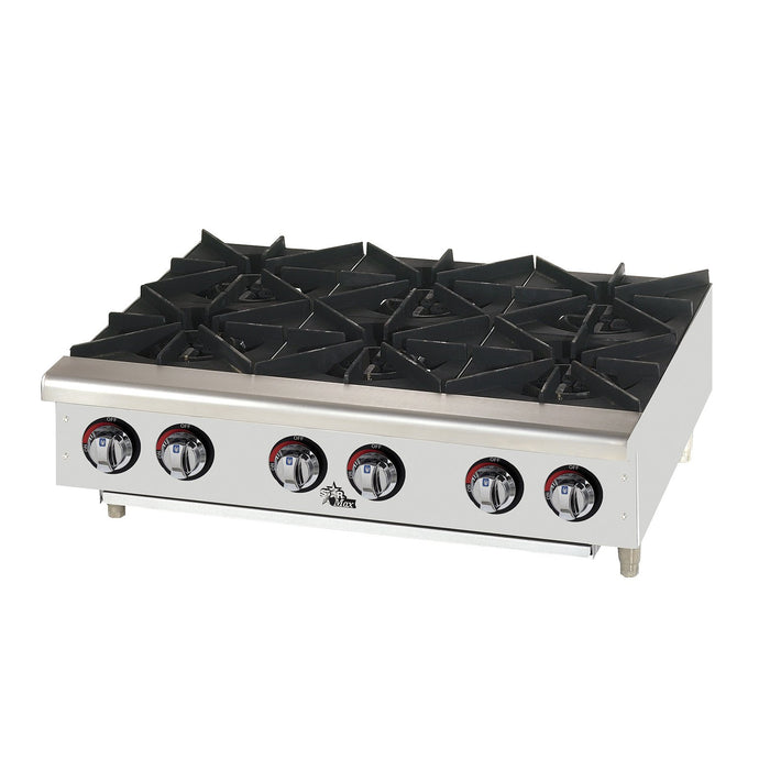 "Star 606HF Field Convertible 36"" 6-Burner Countertop Hot Plate Manual Control - 150,000 BTU"