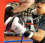 Athena 2 Black & White Leather Laced Boxing Sparring Gloves