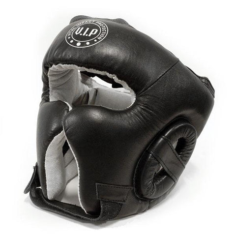 Black Leather Lace-up Boxing Headguard - VIPBE