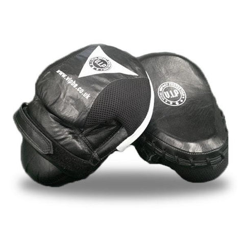 Black & White Leather Curved Boxing Hook & Jab Pads (Closed Finger Design) - VIPBE