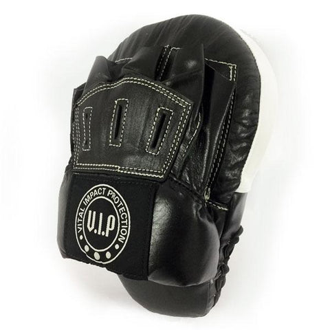 Black & White Leather Curved Boxing Hook & Jab Pads (Open Finger Design) - VIPBE