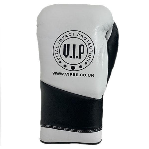 Athena 2 Black & White Leather Laced Boxing Sparring Gloves - VIPBE
