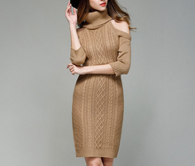 Load image into Gallery viewer, Turtle Collar Sweater Tight Dress