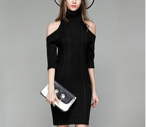 Turtle Collar Sweater Tight Dress
