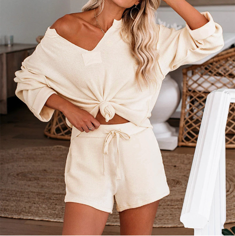 Rib-knit Top And Shorts Two Piece Set
