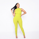 Yellow Creased Jumpsuits
