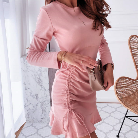 Ruffled Long Sleeve Drawstring Dresses