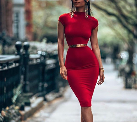 Round-neck Bodycon Dress