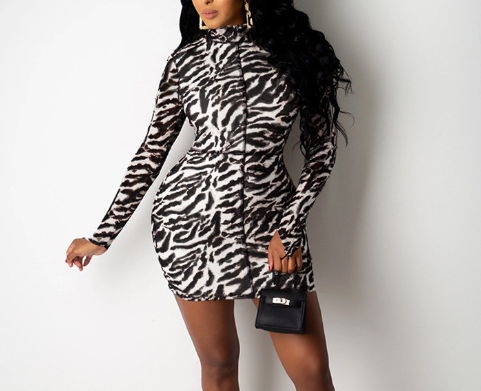 Zebra Print Long Sleeve Mini Bodycon Dress