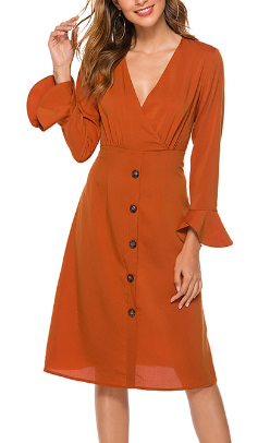 Single-breasted Long Sleeve Midi Dress