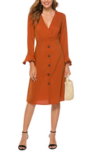 Load image into Gallery viewer, Single-breasted Long Sleeve Midi Dress