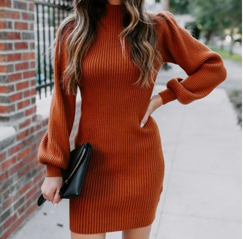 Lantern Sleeve Knitted Dress