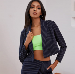 Stripe Cropped Blazer