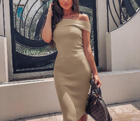 Off-shoulder Design Midi Length Bodycon Dress