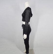 Load image into Gallery viewer, Long-sleeve Crop Top And Lace-up Leggings