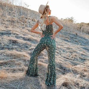 Green flower jumpsuit