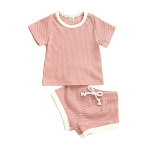 Baby Ribbed Knitted Short Sleeve T-shirts + Shorts Tracksuits Sets - EqualBaby