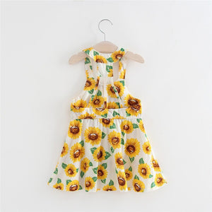 Cute Infant Baby Girls Dress Summer Sunflower - EqualBaby
