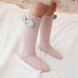 Toddlers Girls Big Bow Knee High Socks - EqualBaby