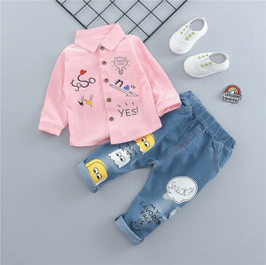 Boys Casual Embroidery Shirt and Denim Pants - EqualBaby