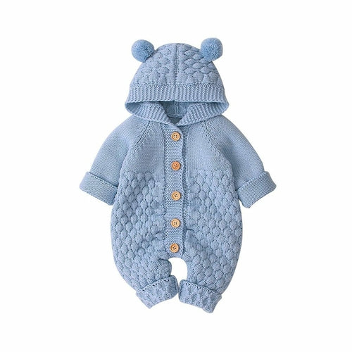 Children's Fur Ball Hooded Knitted One-piece Romper - EqualBaby
