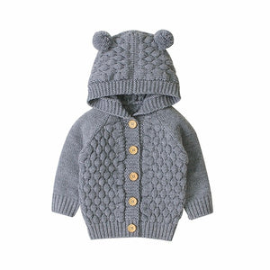 Fur Ball Hooded Knitted Jacket - EqualBaby