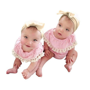 Baby Girls Tassel Ruched Soft Bodysuits - EqualBaby